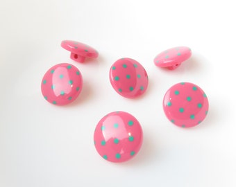 Candy Pink with Aqua Dots Shank Buttons Polka Dot 16mm