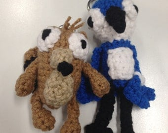 Regular Show: Mordecai and Rigby crochet (amigurumi) guy or keychain