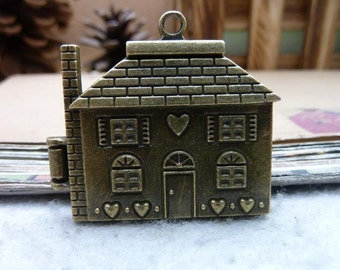 1 House Locket Charms Antique Bronze Tone