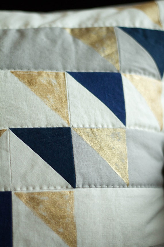 MODERN QUILTED and Painted PILLOW Pattern- Triangle Collage Pillow Pattern - Downloadable from ...