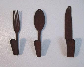 Handcrafted Primitive Style Utensil Hooks - 3
