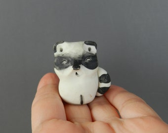 polymer clay fgurine, racoon,clay doll