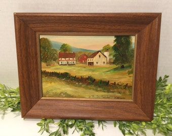 Pair of Original Farm Scene Folk Art Paintings by Charles Thomas Garland Pen Argy / Pa Artist
