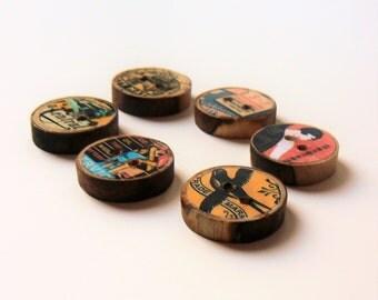 Retro matchbook driftwood buttons