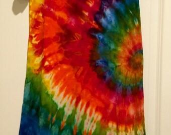 Tie dye spiral T-shirt dress