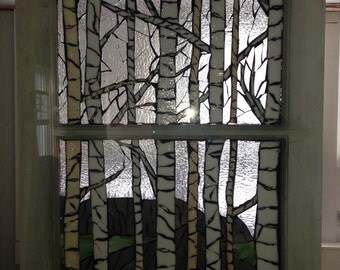 Birch tree Stained glass Mosaic SOLD