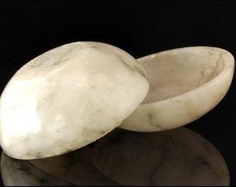 Vintage Chinese White Grey Soupstone Seal Paste Box