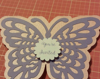 Butterfly Invitations for Baby Shower or Birthday girl butterfly theme.