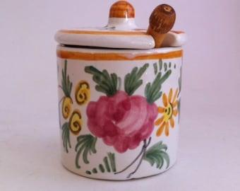 French Ceramic Mustard Pot w/Wooden Utensil - Floral Design