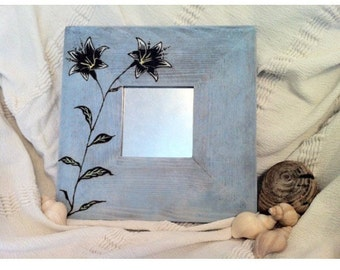 Rustic pale blue hand painted and wood burned decorativd mirror with flower motif