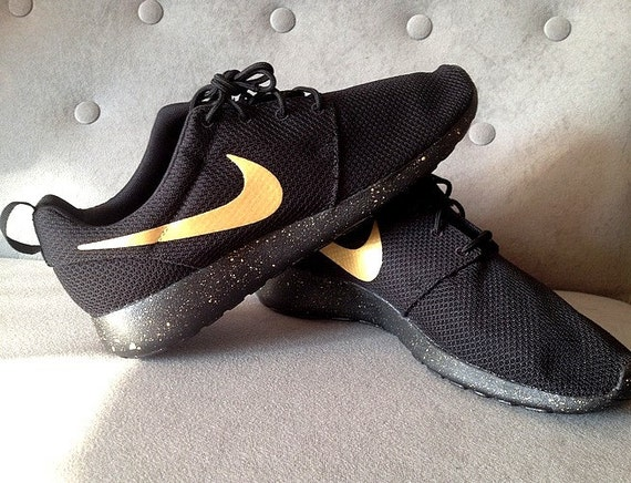 Nike Roshe Run Black with Custom Gold Swoosh and by ...