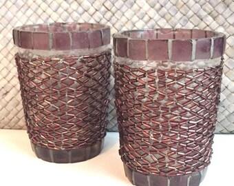Pruple Beaded Glass tea light holders set/2