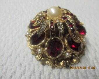Vintage abstract ruby rhinestone pin