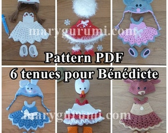 Crochet Pattern, pattern, tutorial, Amigurumi, dolls, 6 outfits for dolls Bénédicte (Pack of 6)