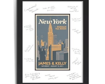Downtown New York Wedding Personalized Art Guest Signing System (Medium)