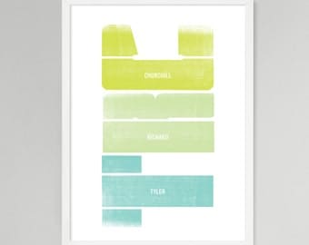 Initial Vertical Personalized Baby/Kids Art (Green, Medium)