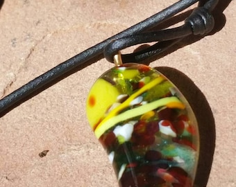 Fused Glass pendant on a black cord necklace