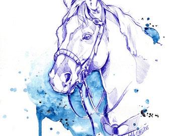 Blue Rodeo - Illustration (Print) | Horse | Drawing | Dessin | Cheval | Aquarelle | Watercolor | Affiche | Art Deco | Deco | Horse Art