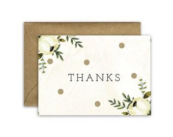 Thanks - White Rose Card