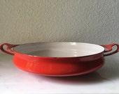 Vintage Red Dansk Design Enamel Cast Iron Pan, Danish modern