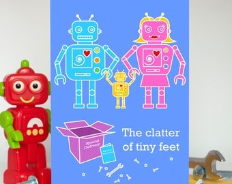 Funny New Baby Card, Robot Baby Card, Twin Baby Card, Twins Card, New Baby Boy Card, Newborn Baby Girl Card, New Parents Card, Cute Robots