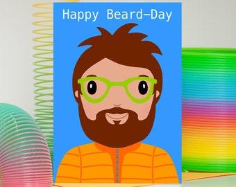 Beard Birthday Card, Beard Card, Funny Beard Card, Birthday Card For Boyfriend, Dad Card, Rock Climbing Card, Hipster Card, Happy Beard Day