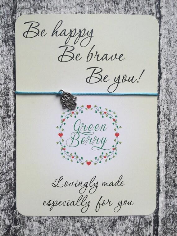 "Hamsa Palm String Bracelet on ""Be Happy Be Brave Be You"" quote card lucky madebygreenberry wish bracelet"