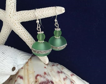 Handcrafted etched lampwork beads silvered band earrings with Sea Glass beads and sterling silver components.
