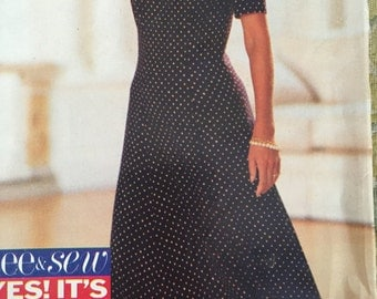 Vintage Sewing Pattern Butterick 6624 Women's Size 6-8-10, fitted and flared dress