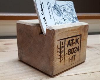 Reclaimed Wood Business Card Holder. Pallet Wood Desktop Business Card Holder.