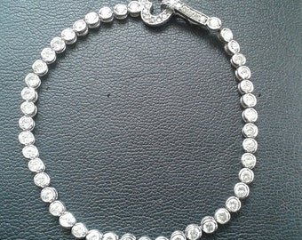 Sterling Silver Bezel set Tennis Bracelet w Heart Clasp and CZ stones