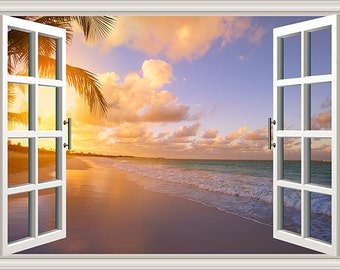 PS0836 Poster Print Window Art Beautiful sunrise over tropical beach SEASCAPE
