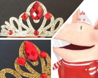 Olivia Headband,Olivia Crown,Olivia the Pig,Olivia pig,Olivia the pig crown,disney princess crown,Disney crown,Olivia pig headband,red crown