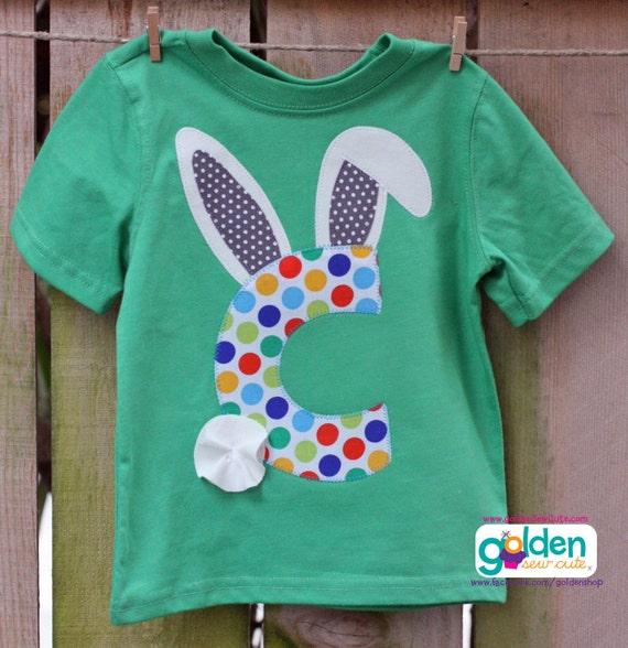 Easter Bunny Ear, Initial, Personalized Boy Spring Tee