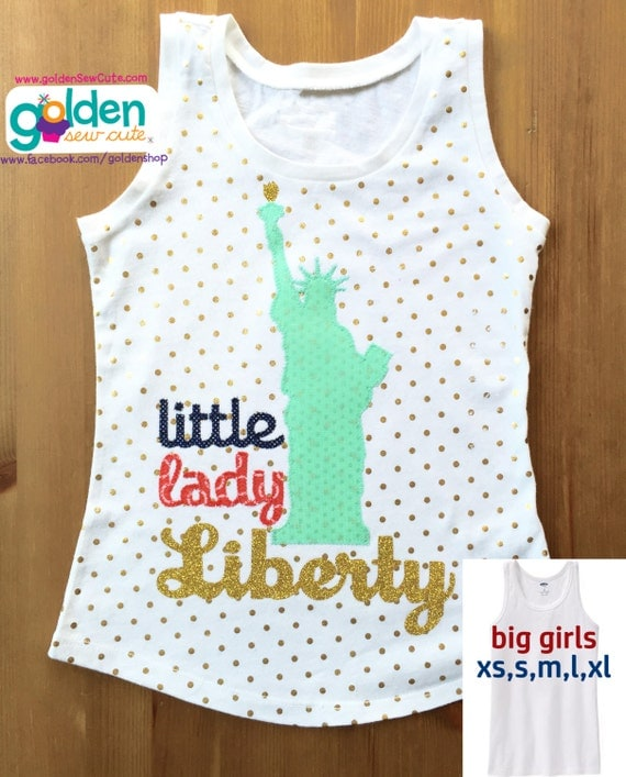 4th of July Little Lady Liberty, Statue of Liberty Tee or Dress, I love America, Fourth of July, July 4, Independence Day, Shirt or Dress