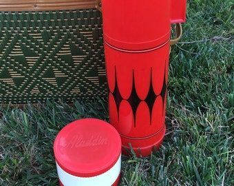 Vintage Aladdin Thermos and Thermo Jar, 1970s