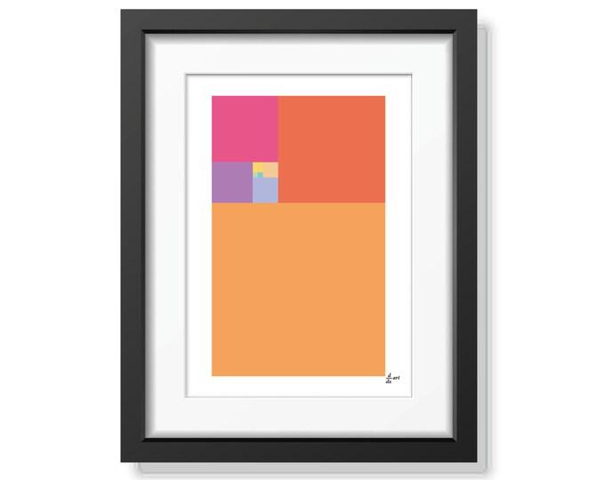 Fibonacci Festival [mathematical abstract art print, unframed] A4/A3 sizes