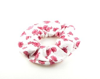 Scrunchie, scrunchies, tie hair, vintage style - white pink flowers