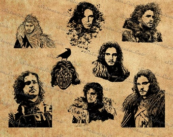 Digital image game of thrones inspired, jon snow, night's watch, stark, vector, clipart, instant download, silhouette