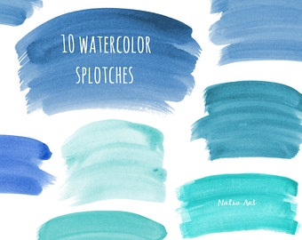 Buy 3 for 9 USD - Splotches Clipart watercolor, Handpainted watercolor,  digital clipart, cards, invitationsrt, logo, blue PNG