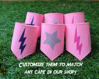 Superhero accessory, cape costume set, cape and mask, superhero costume, wrist cuffs, arm bands, pink superhero costume, super girl costume