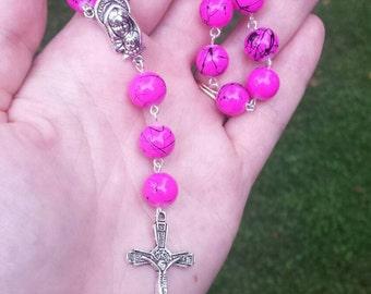 Rosary, Mini Rosary, Beaded Rosary