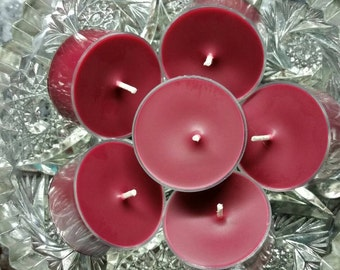 Dragon's Blood Scented Tea Light Candles - All Natural Soy Wax (Set of 6) - 5 Hour Burn