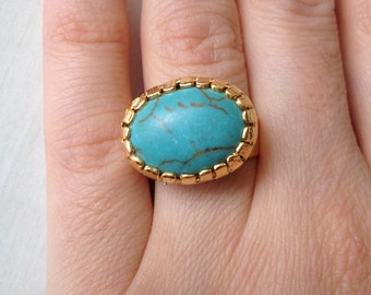 Ring, Gemstone Ring , Turquoise Ring, Gold Filled Ring, Handmade Ring, Free Size Ring, Gold Plate Ring, Gift for  Her