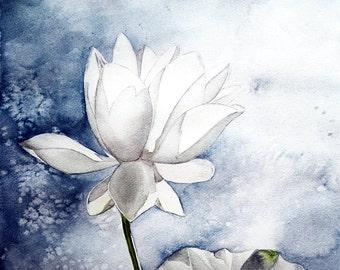 Lotus Flower Original Watercolor Painting prints - Lotus Art - Wall Decor Buddhism Painting - Natural - leaves - blue - green