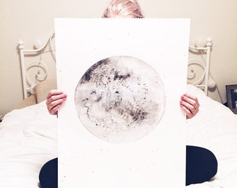 Extra Large Watercolor Moon Original Painting