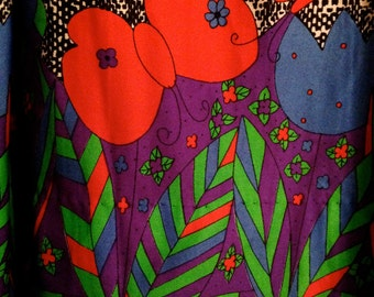 Vintage Mod 1960s Matisse Fabric Hand made Long Skirt Size Large EXCELLENT CONDITION