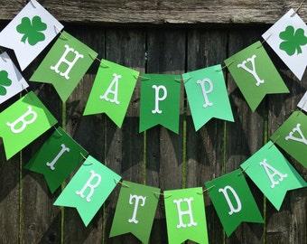 Irish birthday banner. St Patricks day birthday banner. Green happy birthday banner. Four leaf clover party decor.
