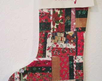 Personalized Quilted Patchwork Christmas Stocking