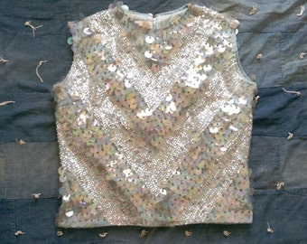 Vintage 1960's Ice Blue Sequined Knit Top